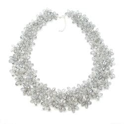 Mini Floral Lush Silver Crystal Chocker Necklace (Thailand)
