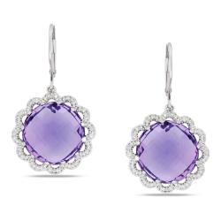 Miadora 14k White Gold Amethyst and 1/4ct TDW Diamond Earrings (G-H, SI1-SI2)