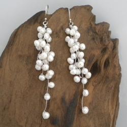 Classy Ruffles Freshwater White Pearl Handmade Earrings (Thailand)