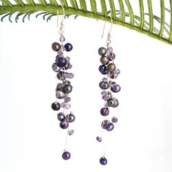 Classy Ruffles Freshwater Dyed Purple Pearl-Amethyst Stone Earrings (Thailand)