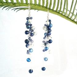 Classy Ruffles Freshwater Dyed Blue Pearl-Iolite Stone Earrings (Thailand)