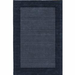 Handmade Alexa Zen Solid Border Denim Wool Rug (8'3 x 11')