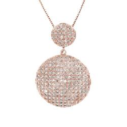 Moise 14k Rose Goldplated Clear CZ Cascading Circle Necklace