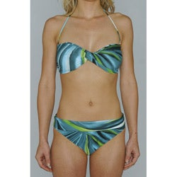 Island Love Young Missy 'Northern Lights' Halter Bandeau Foldover Banded Bottom Bikini