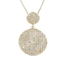 Moise 14k Gold over Silver Clear Cubic Zirconia Cascade Circle Necklace