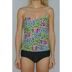Island Love Young Missy 'Green Digital' Faux Tankini Swimsuit