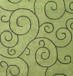 Hand-tufted Sarah Scrolls Lime Green Wool Rug (6' x 6')