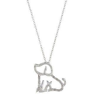 Sterling Silver 1/10ct TDW Diamond Dog Pet Necklace (J-K, I3)