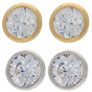 NEXTE Jewelry Clear Cubic Zirconia Solitaire Stud Earrings