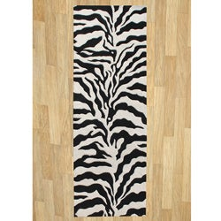 Alliyah Handmade Black New Zealand Blend Wool Rug (3' x 10')