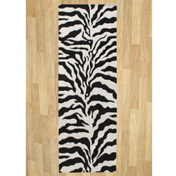 Hand-tufted Safari Black Wool Rug (3' x 10')
