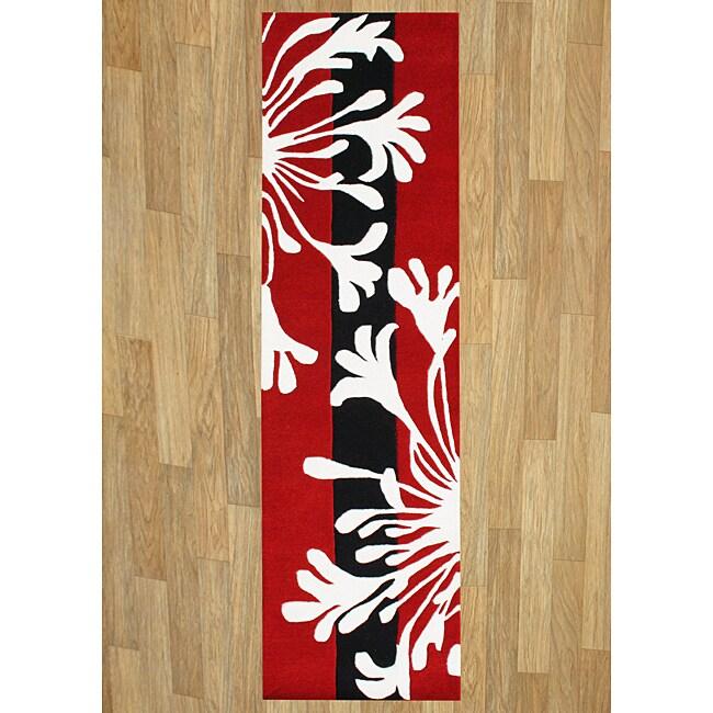 Hand-tufted Sabrina Red New Zealand Wool Rug (2' x 8')