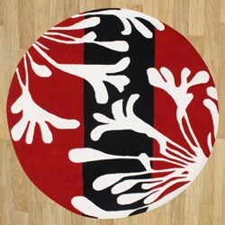 Handmade Sabrina Red New Zealand Blend Wool Rug (6' Round)