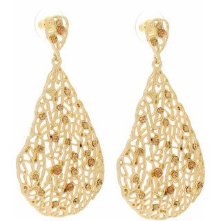 NEXTE Jewelry 14k Gold Overlay Champagne Rhinestone Filigree Earrings