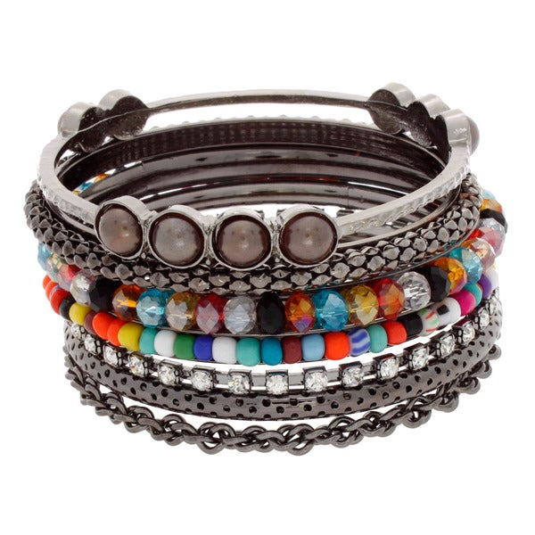 NEXTE Jewelry Black-plated Colored Bead Stackable 7-piece Bracelet Set