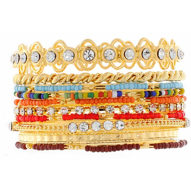 NEXTE Jewelry Gold Overlay Colored Bead Stackable 10-piece Bracelet Set at Sears.com