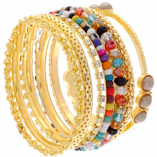 NEXTE Jewelry Gold Overlay Colored Bead Stackable 7-piece Bracelet Set