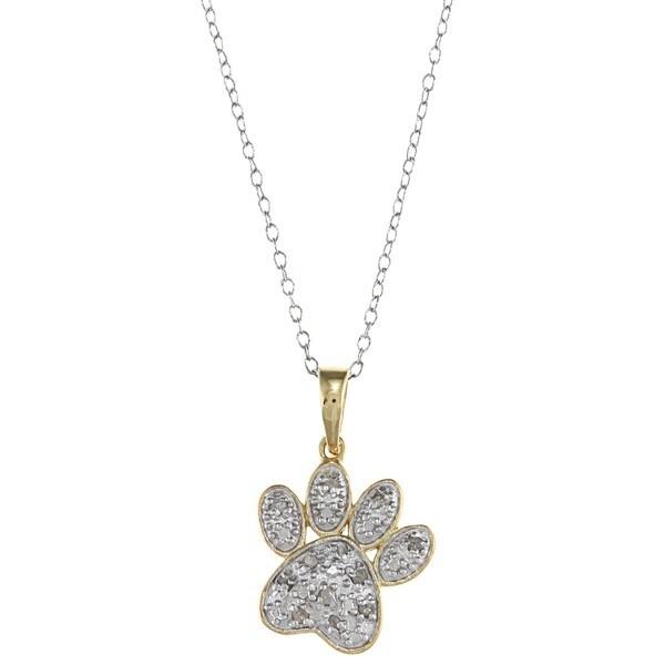 Two-tone Silver 1/10ct TDW Diamond Paw Necklace (J-K, I3)