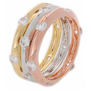 NEXTE Jewelry Tri-color Stackable 3-piece CZ Eternity Band Set