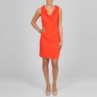 Sharagano Women's Plus Papaya Ruffle Linen Dress