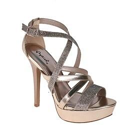 Qupid by Beston Women's Champagne Glitter Stiletto Sandals