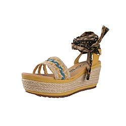 Jacobies by Beston Women's 'Happy-10' Yellow Platform Espadrilles