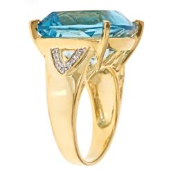 D'Yach 18k Yellow Gold over Silver Swiss Blue Topaz and Diamond Accent Ring