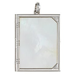 Platinum Mother of Pearl Opening Book Pendant