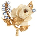 18k Yellow Gold 1/3ct TDW 1960's Ivory Rose Brooch (G-H, SI1-SI2)