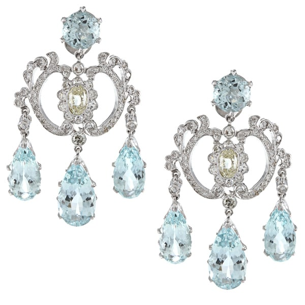 Pre-owned 18k White Gold 2ct TDW Aquamarine Chandelier Earrings (M-N, SI1-SI2)