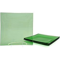 Jewel Green Tempered Glass Appetizer Plate Set