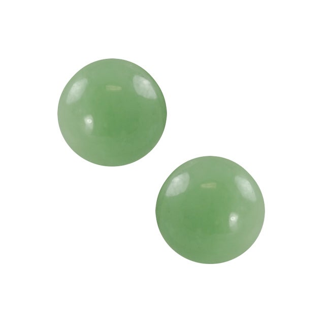 Gems For You 14k Yellow Gold Green Jade Stud Earrings