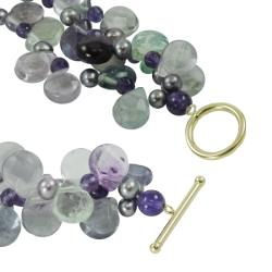 Gems For You 14k Gold Fluorite, Amethyst and FW Pearl Necklace (4-5 mm)