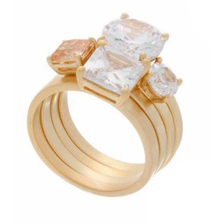 NEXTE Jewelry Cubic Zirconia Stackable 4-piece Ring Set
