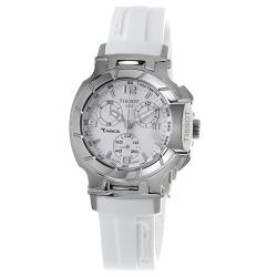 Tissot Women's 'T Race' White Dial Rubber Strap Chronograph Watch