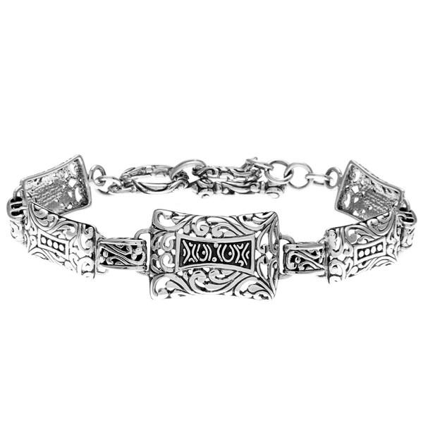 Sunstone Sterling Silver Bali Filigree Rectangle Toggle Bracelet
