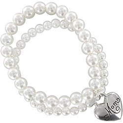 Roman Silvertone Cream Faux Pearl Crystal 'Mom' Stretch Bracelet