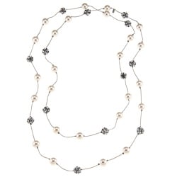 Roman Silvertone Cream Faux Pearl and Crystal Bead 60-inch Necklace