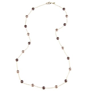 Roman Goldtone Champagne and Brown Faux Pearl 30-inch Necklace