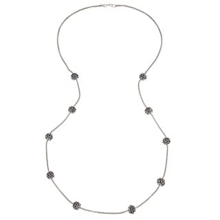 Roman Silvertone Antiqued Bali Bead Station 36-inch Necklace