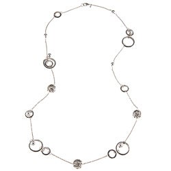 Roman Silvertone Artisan Bali Beaded Circle 36-inch Necklace