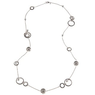 Roman Silvertone Artisan Bali Beaded Circle 36-inch Necklace