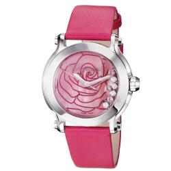 Chopard Women's 'Happy Sport Round' Pink Mother of Pearl Dial Watch
