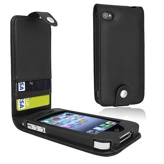 BasAcc Black Leather Case with Card Holder for Apple iPhone 4/ 4S