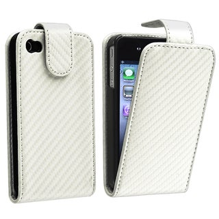 BasAcc White Carbon Fiber Leather Case for Apple iPhone 4/ 4S