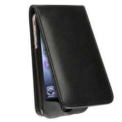 BasAcc Black Leather Case with Magnetic Flap for Apple iPhone 4/4S