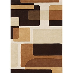 Handmade Dark Brown New Zealand Blend Wool Rug (6' x 9')