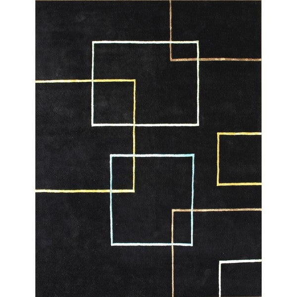 Hand-tufted Andy Black New Zealand Blend Wool Rug (8' x 10')