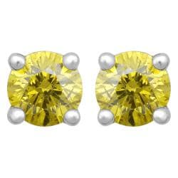 10k White Gold 2/5ct TDW Treated Yellow Diamond Stud Earrings