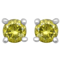 10k White Gold 1/3ct TDW Treated Yellow Diamond Stud Earrings